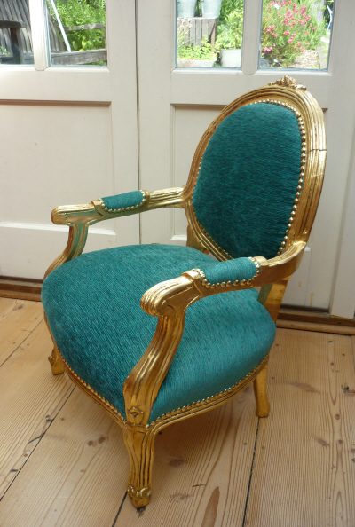 Child's upcycled antique gold chair - Gold Child's Chair